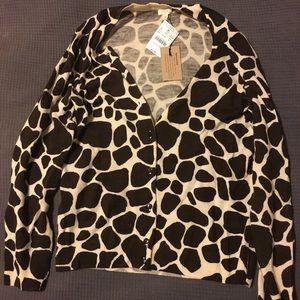J. Crew Giraffe Print Wool Cardigan